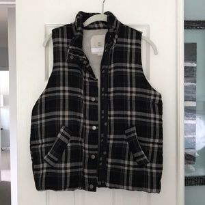 Hei Hei quilted plaid puff vest - S